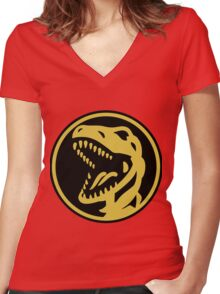 Tyrannosaurs Coin  Women's Fitted V-Neck T-Shirt