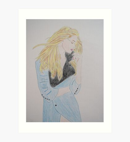 Loving Her Blue Coat Art Print