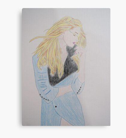 Loving Her Blue Coat Metal Print