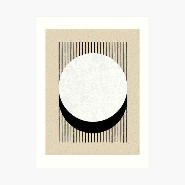 Circle B&W Stripes - Abstract Art Print