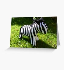 Hand Knitted toy Zebra Greeting Card