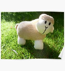Hand Knitted toy Sheep Poster