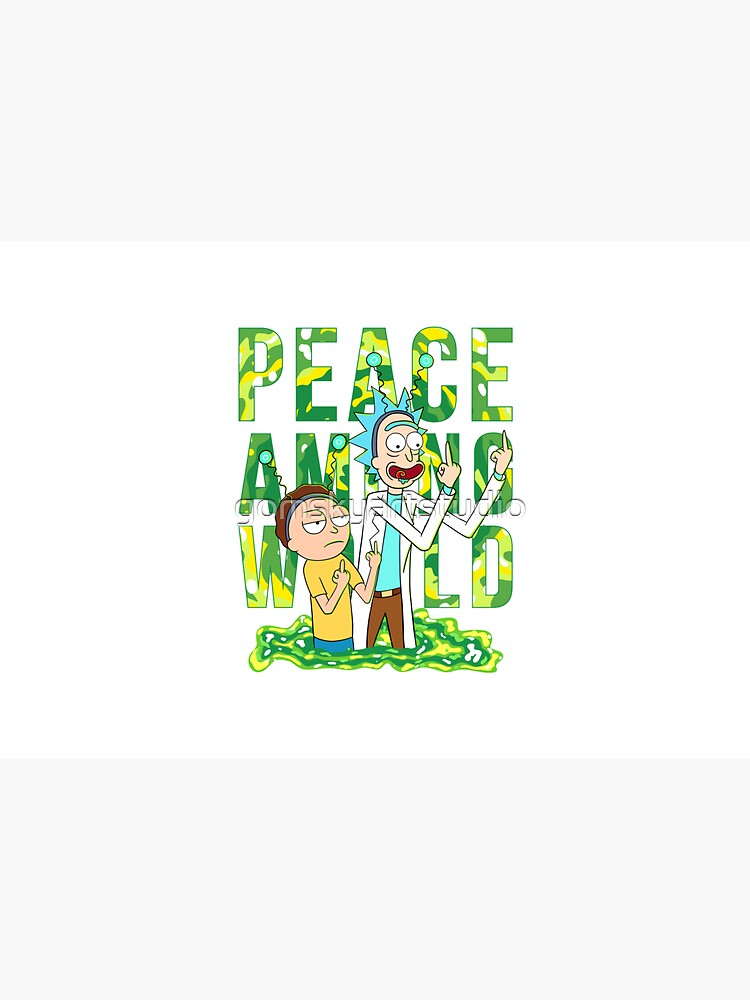 peace among world rick and morty retro  by gomskyartstudio