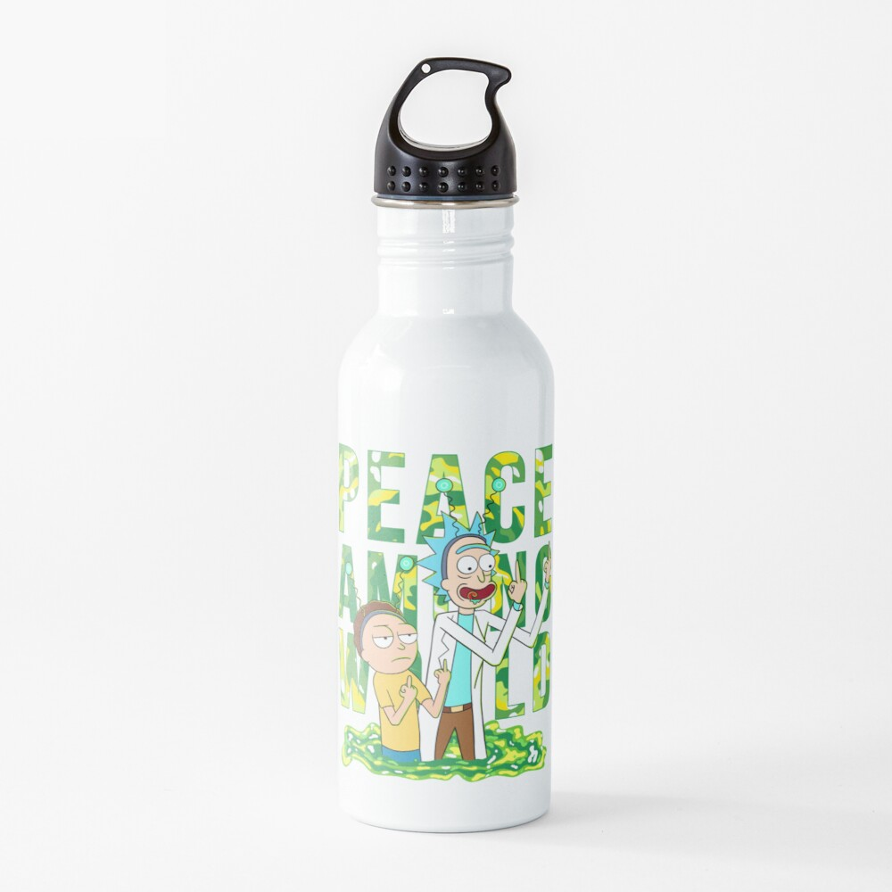 peace among world rick and morty retro  Water Bottle