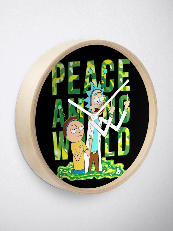 Alternate view of peace among world rick and morty retro  Clock