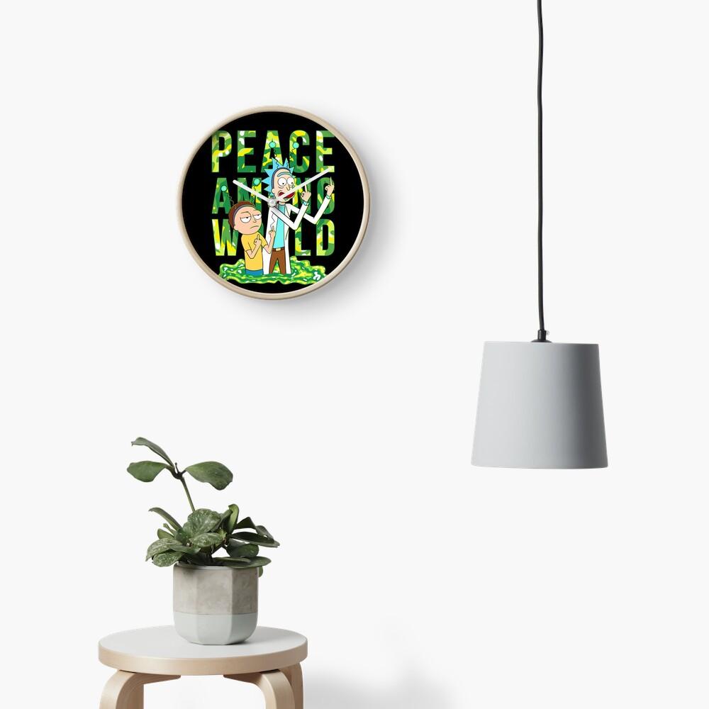 peace among world rick and morty retro  Clock