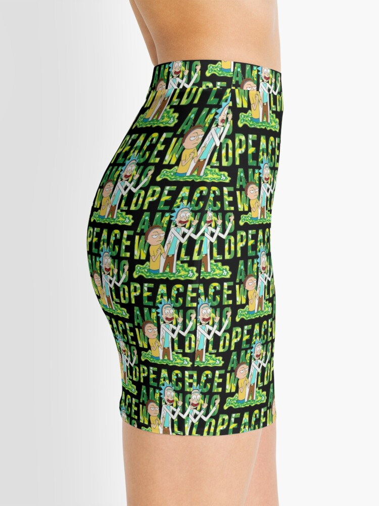 Alternate view of peace among world rick and morty retro  Mini Skirt