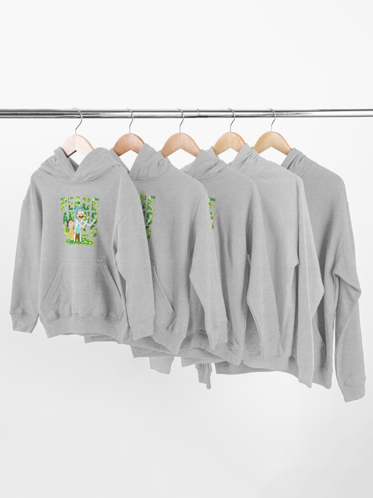 Alternate view of peace among world rick and morty retro  Kids Pullover Hoodie