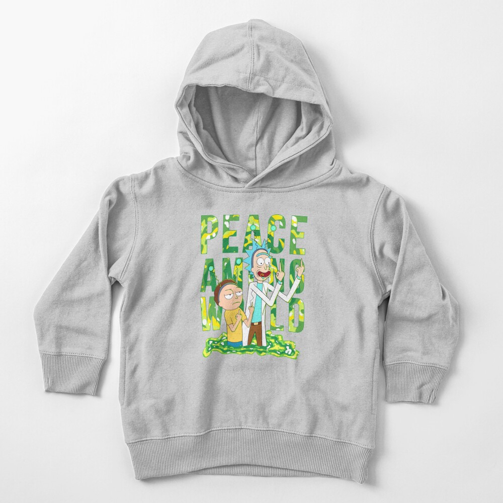 peace among world rick and morty retro  Toddler Pullover Hoodie