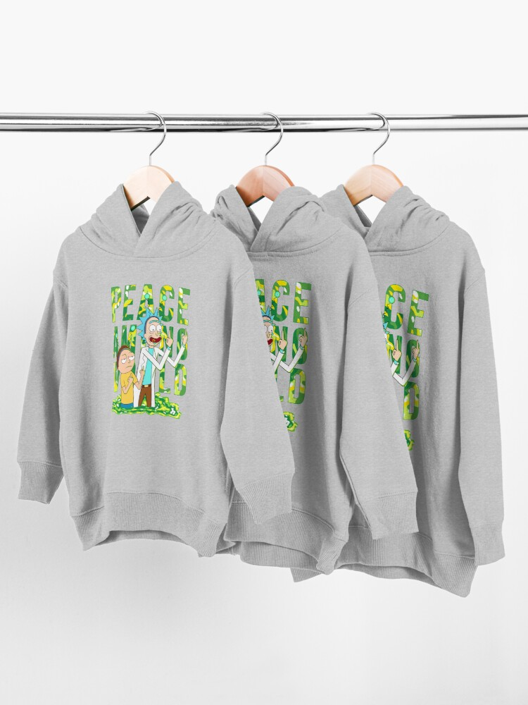 Alternate view of peace among world rick and morty retro  Toddler Pullover Hoodie