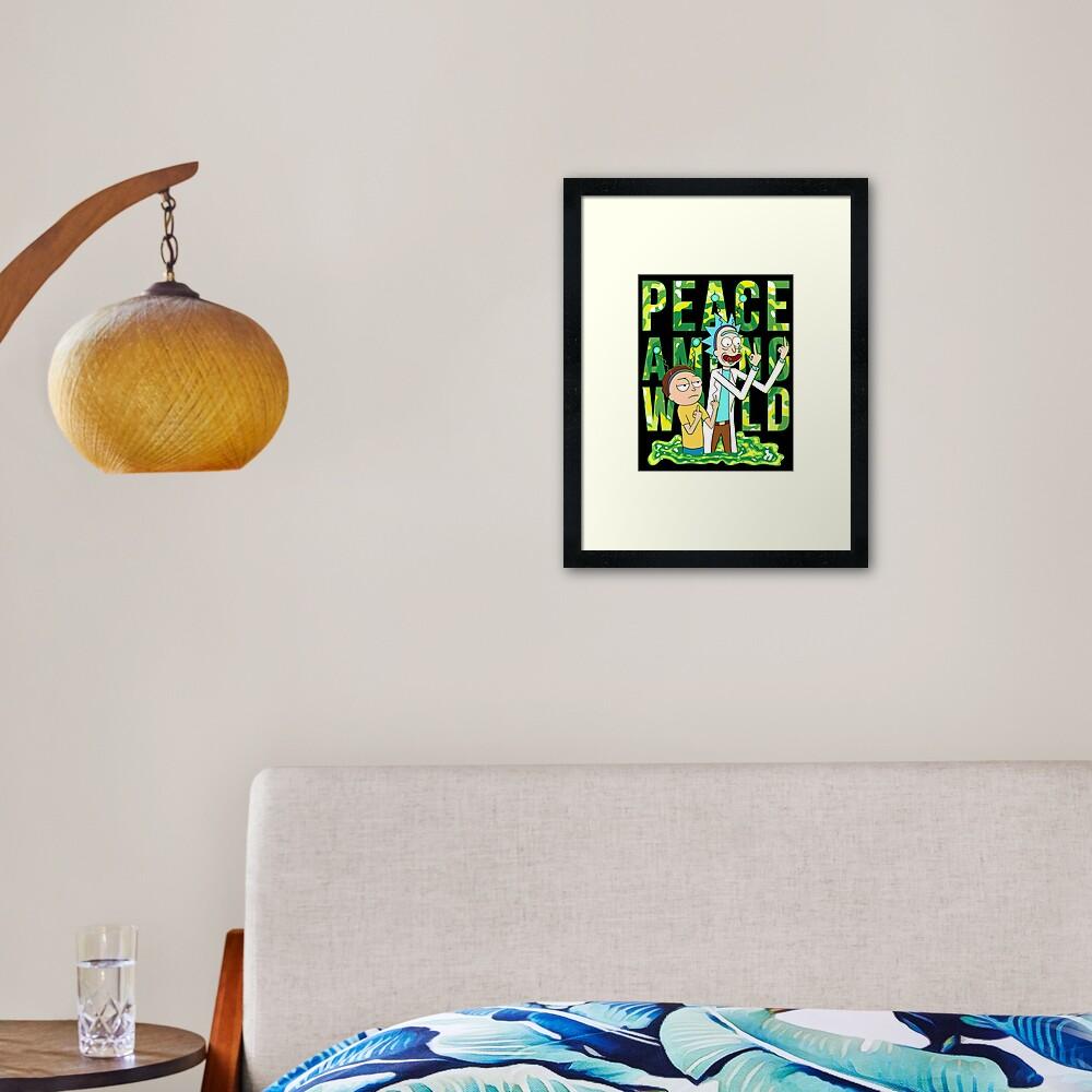 peace among world rick and morty retro  Framed Art Print