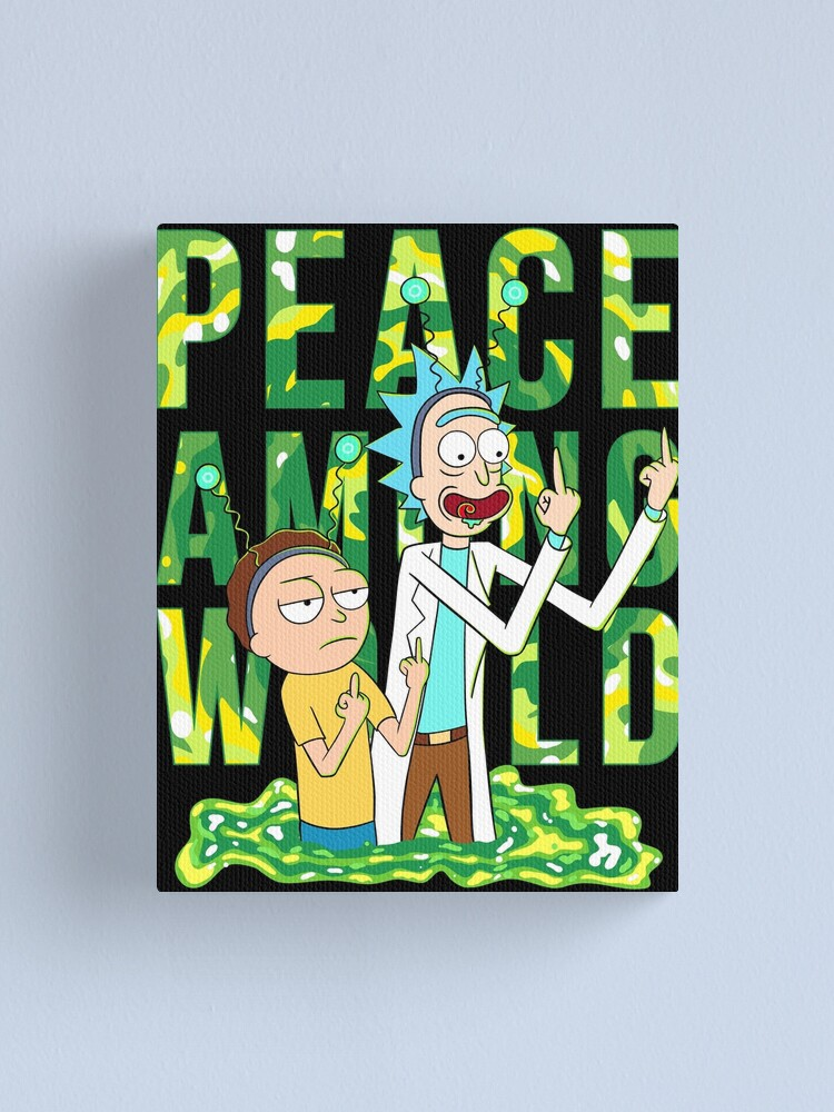 Alternate view of peace among world rick and morty retro  Canvas Print