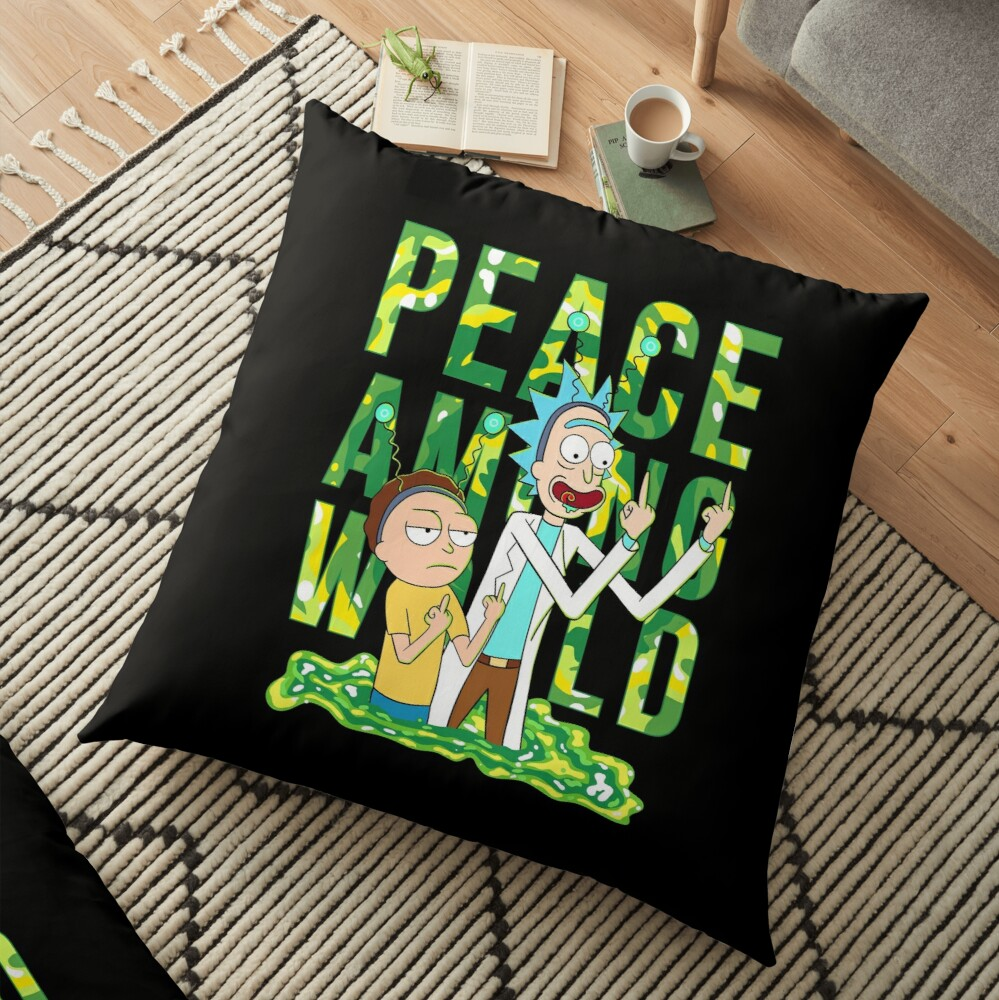 peace among world rick and morty retro  Floor Pillow
