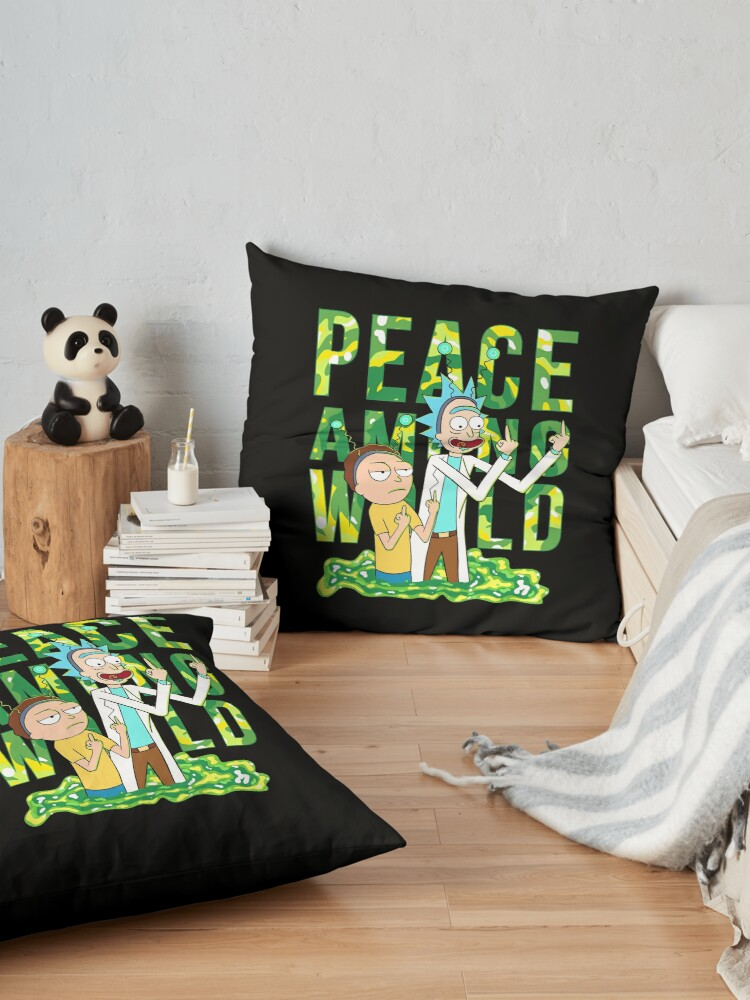 Alternate view of peace among world rick and morty retro  Floor Pillow