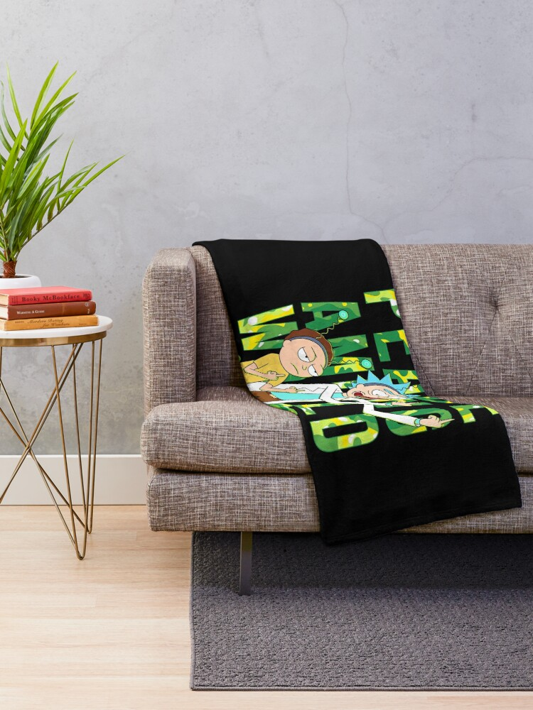 Alternate view of peace among world rick and morty retro  Throw Blanket