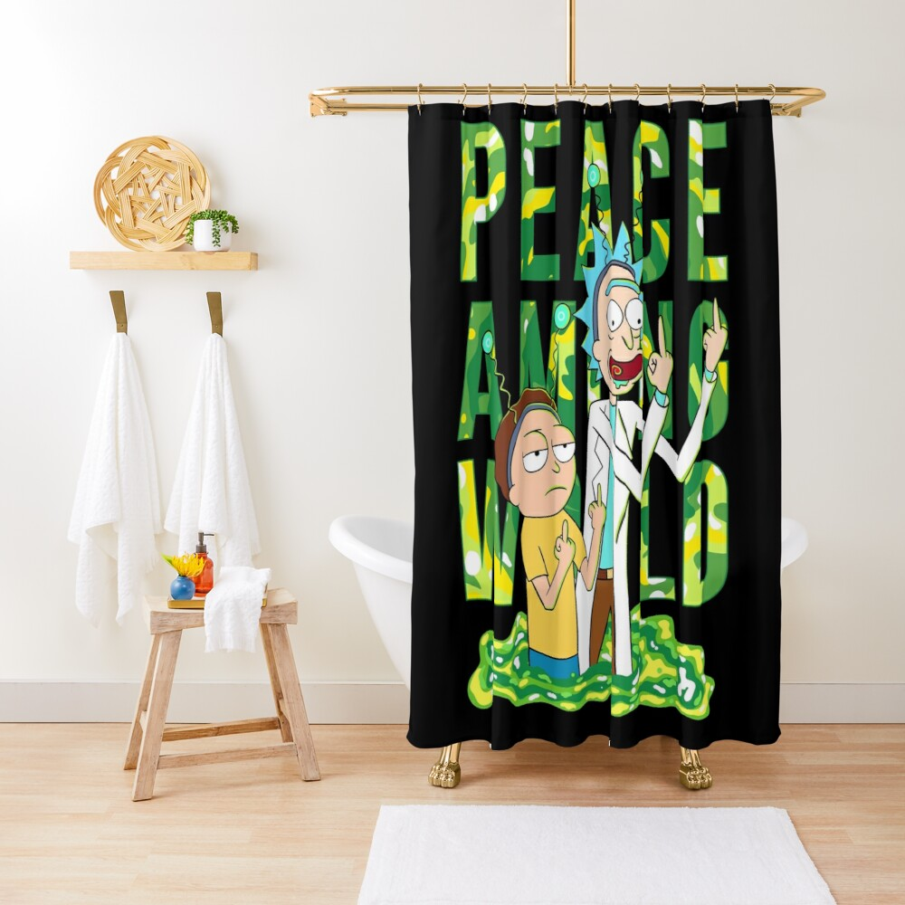 peace among world rick and morty retro  Shower Curtain