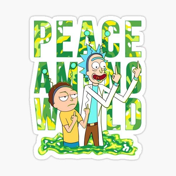 peace among world rick and morty retro  Sticker