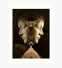 Sculptured stone face Art Print