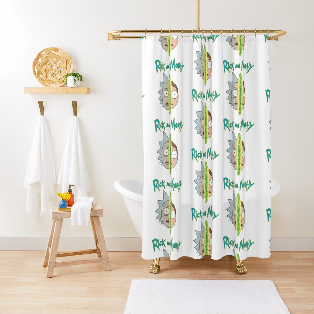 Rick and Morty face off Shower Curtain