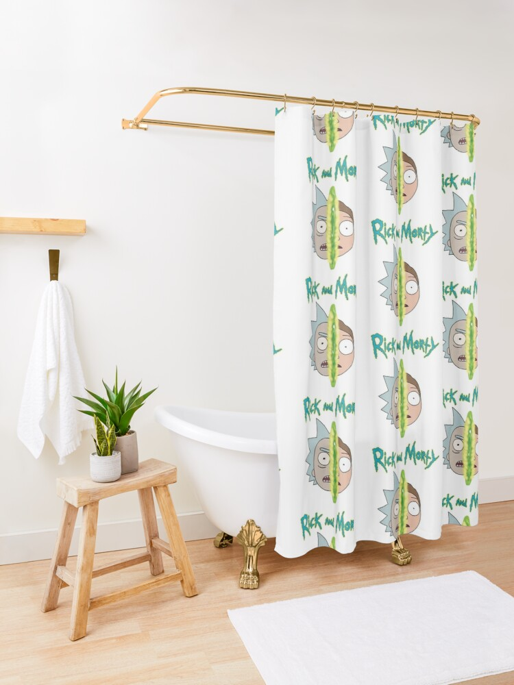 Alternate view of Rick and Morty face off Shower Curtain