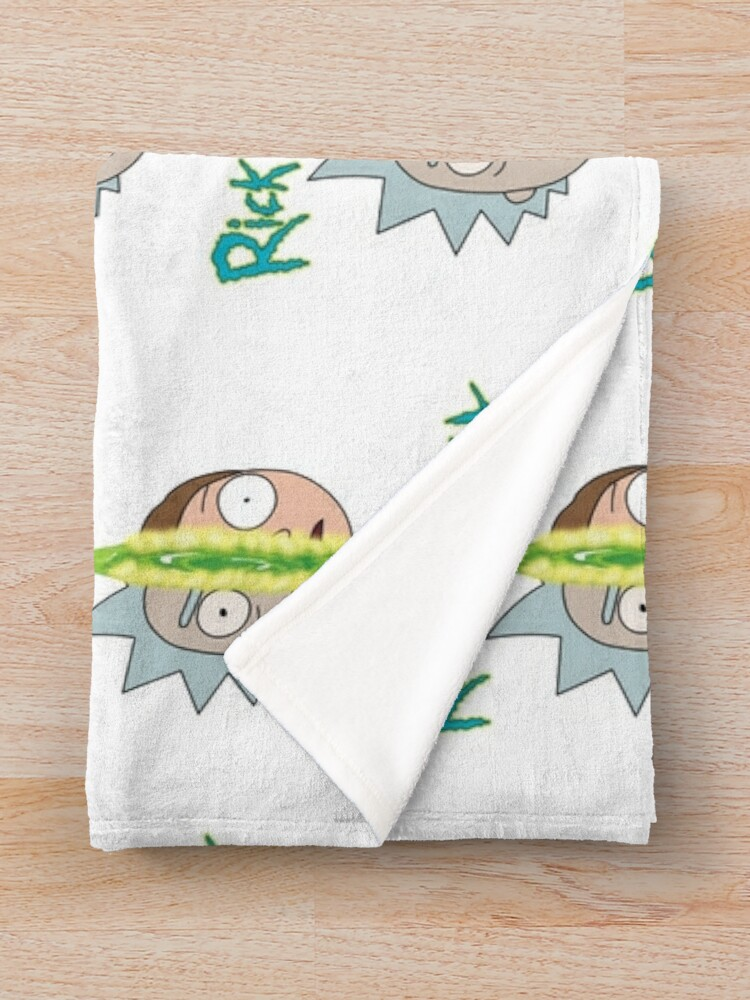 Alternate view of Rick and Morty face off Throw Blanket