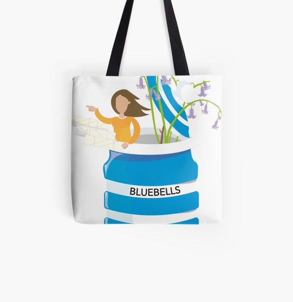 cornishware woman exploring bluebells All Over Print Tote Bag