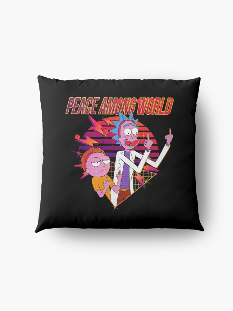 Alternate view of peace among world rick and morty Floor Pillow