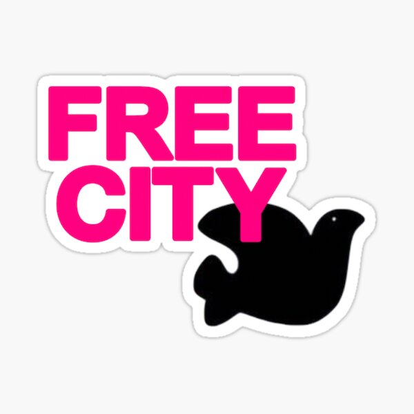 Pink Free City Sticker Sticker