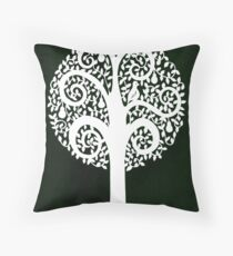 partridge in a pear tree - dark green Throw Pillow