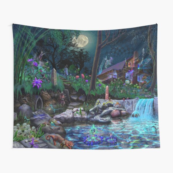 The PsyCabin - Trippy Psychedelic Visionary Garden Tapestry