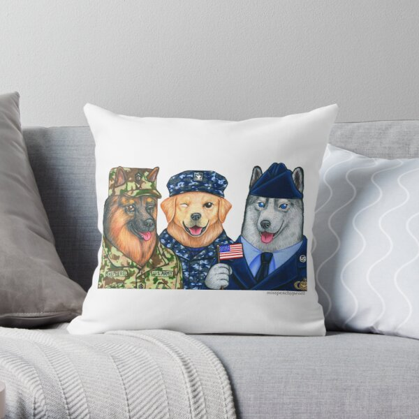 Armed Forces: Military Dogs  Throw Pillow