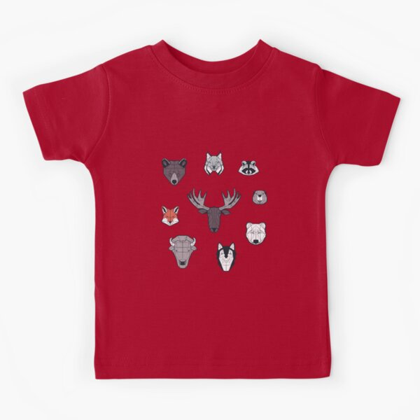 Canadian wild geometric animals // teal background brown bear bull moose beaver bison grey lynx black and white raccoon bear wolf red foxes Kids T-Shirt
