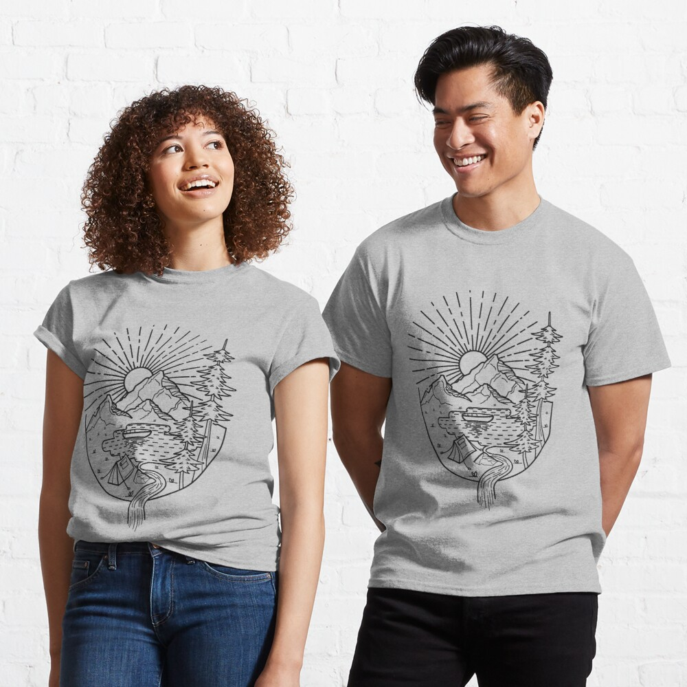 Lake Line Art  Classic T-Shirt