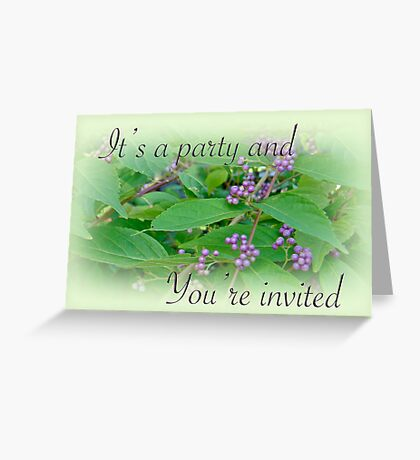 Party Invitation - General - American Beautyberry Shrub Greeting Card