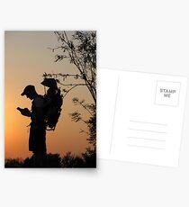 Geocaching at sunset Postcards