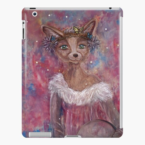 Desert fox (fennec) with butterfly headpiece, Chinese dahlias and hand drum on pink and blue sapphire background iPad Snap Case