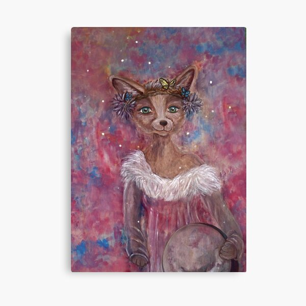Desert fox (fennec) with butterfly headpiece, Chinese dahlias and hand drum on pink and blue sapphire background Canvas Print
