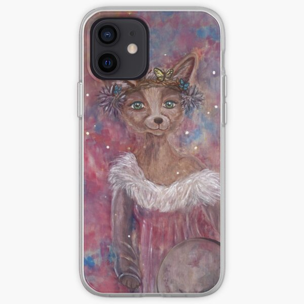 Desert fox (fennec) with butterfly headpiece, Chinese dahlias and hand drum on pink and blue sapphire background iPhone Soft Case