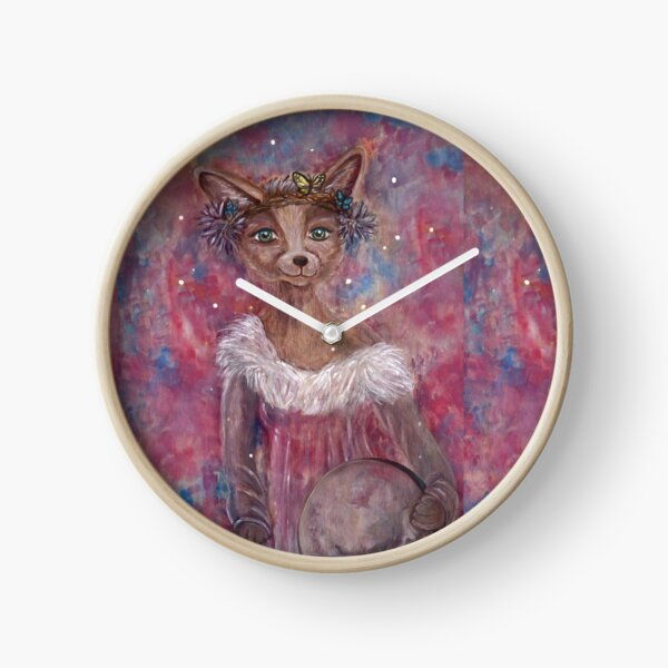 Desert fox (fennec) with butterfly headpiece, Chinese dahlias and hand drum on pink and blue sapphire background Clock