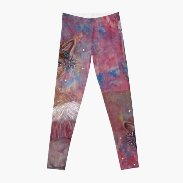 Desert fox (fennec) with butterfly headpiece, Chinese dahlias and hand drum on pink and blue sapphire background Leggings