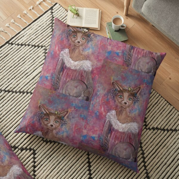 Desert fox (fennec) with butterfly headpiece, Chinese dahlias and hand drum on pink and blue sapphire background Floor Pillow