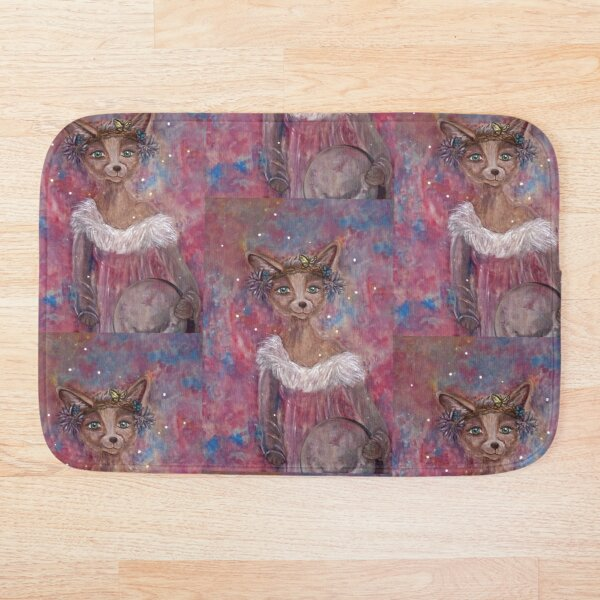 Desert fox (fennec) with butterfly headpiece, Chinese dahlias and hand drum on pink and blue sapphire background Bath Mat