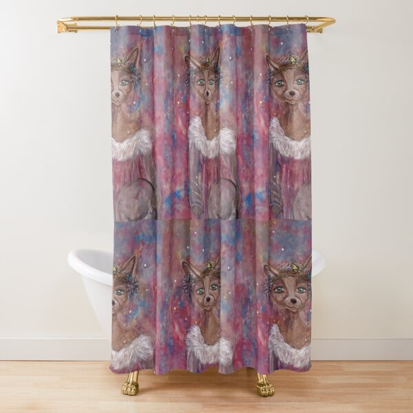 Desert fox (fennec) with butterfly headpiece, Chinese dahlias and hand drum on pink and blue sapphire background Shower Curtain