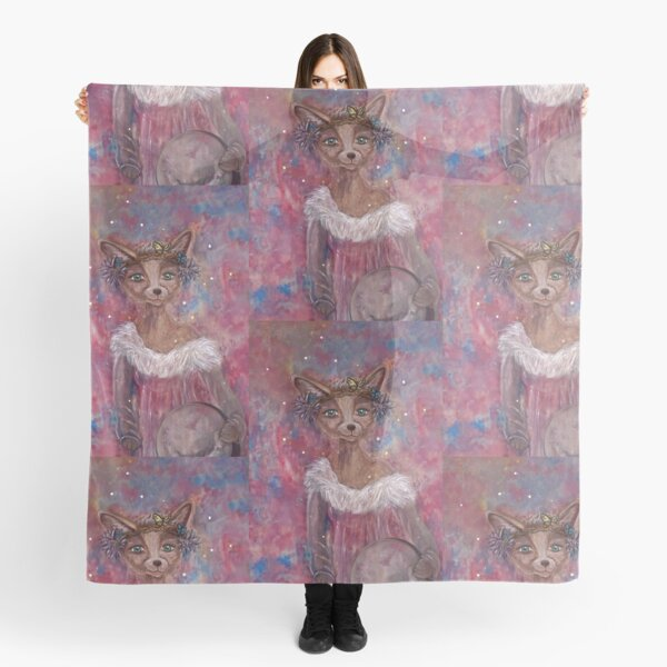 Desert fox (fennec) with butterfly headpiece, Chinese dahlias and hand drum on pink and blue sapphire background Scarf