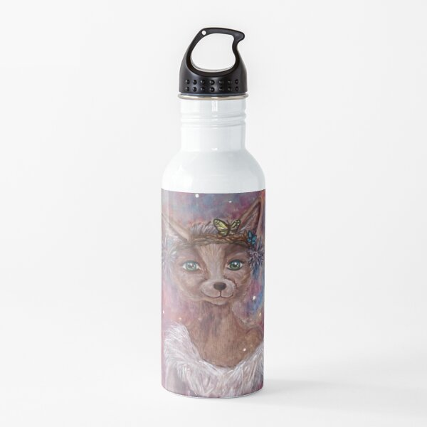 Desert fox (fennec) with butterfly headpiece, Chinese dahlias and hand drum on pink and blue sapphire background Water Bottle