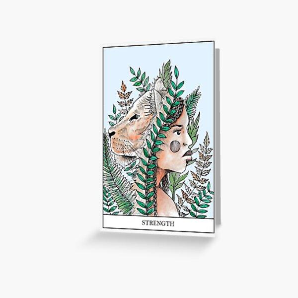 Strength Tarot Card Print  Greeting Card