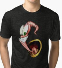 Funny gaming worm Tri-blend T-Shirt