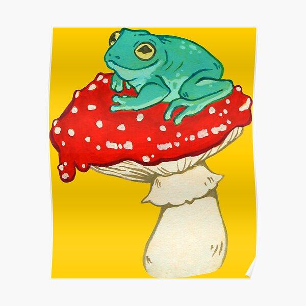 Frog on a Mushroom Poster