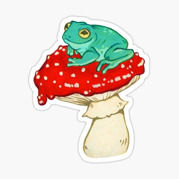 Frog on a Mushroom Sticker