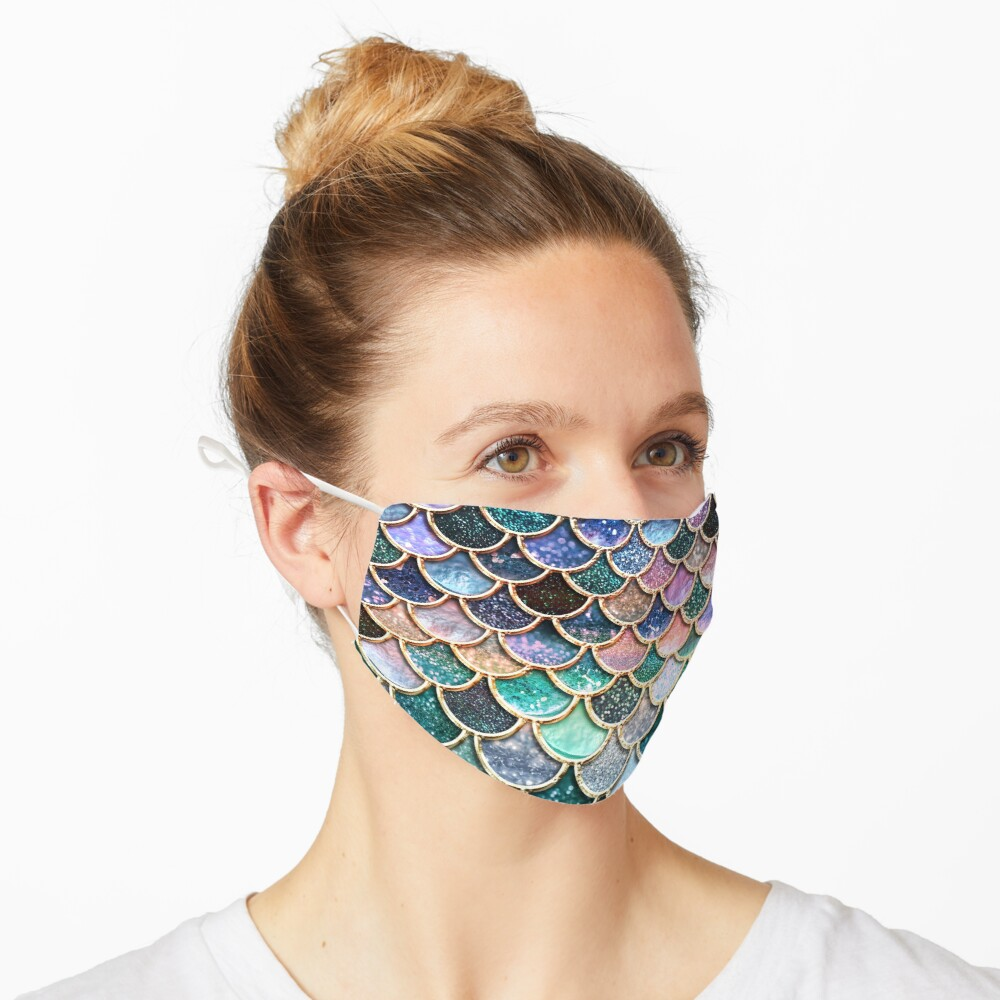 Teal, Silver and Pink Sparkle Faux Glitter Mermaid Scales Mask